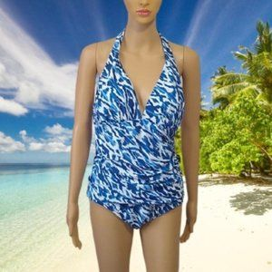 Chaps Swimsuit One Piece Halter Slimming